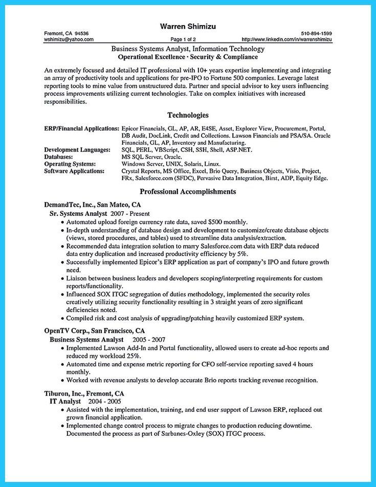 Resume Samples For Business Analyst Entry Level Business Analyst