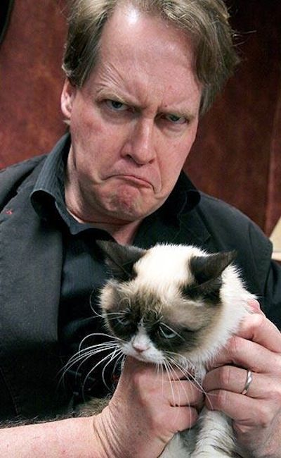 GRUMPY CAT REVEALED! Her name is Tardar Sauce, and she's actually very mild mannered, and she's tiny.