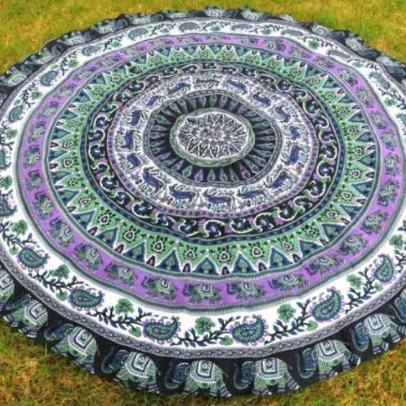 """❣ BOHO round elephant tapestry ❣ ‼️ THESE SELL OUT FAST‼️ Only one left in this print. Perfect for the beach, pool, wall decor drapery or table cloth. Very large 70"""" across. Big enough for two :) NOT free people just for views.    BEST PRICE AROUND   Screen Printed Handmade Item Using Traditional Method Size: 180 Cm. Diameter Material: 100% Cotton Style: Elephant Large Roundie Usage: Picnic or beach Sheet Tapestry or a Wall Hanging, Bedspread, Bed Cover, Table Cloth, Curtain, Dorm Decor…"""