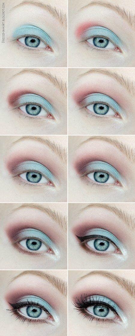 Błękitno - bordowy make up dla blondynek - INSTRUKCJA KROK PO KROKU!!!