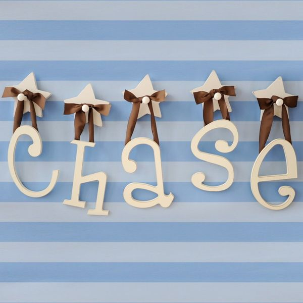 love these wooden hanging letters for the nursery!