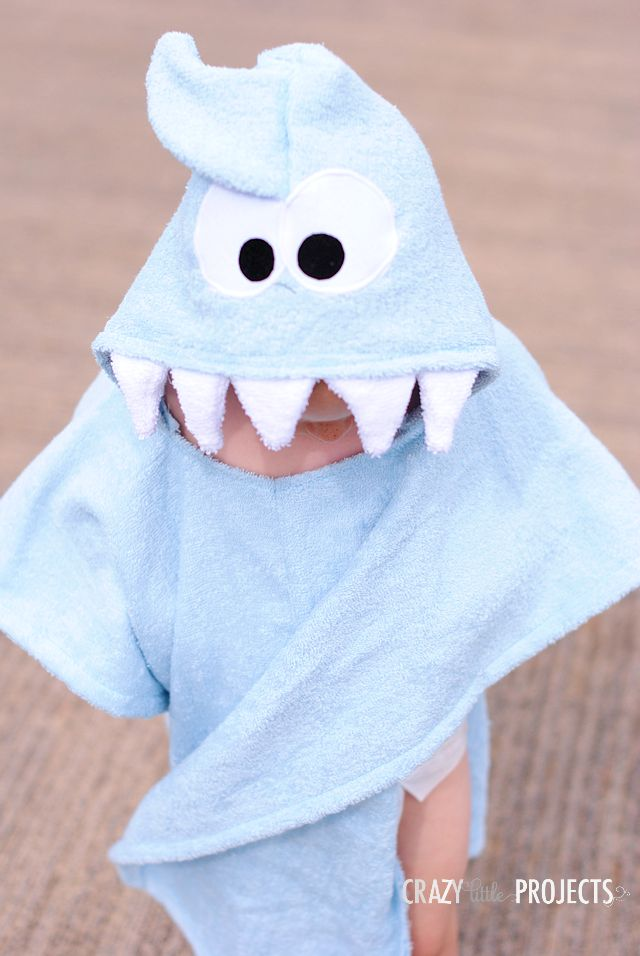 How to Make a Shark Swim Cover Up.  Kid's Hooded Beach Cover Up Tutorial.
