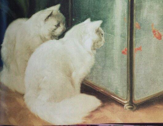 Witte katten turend naar goudvis ca. 1920 Arthur Heyer 1872-1931