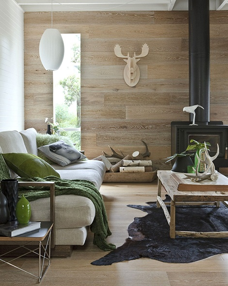 Wood used in different ways makes this interior interesting