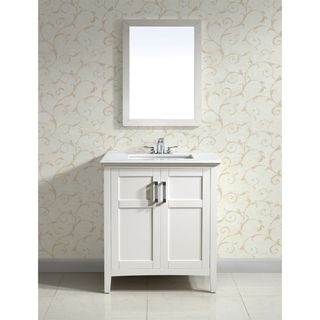 30 Inch White Bathroom Vanity With Carrara Top