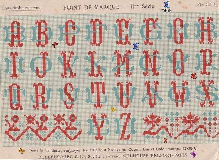 002 lettres entrelacées   Alphabet point de croix, Modèles ...