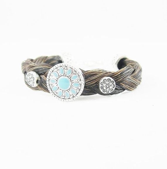 Black Auburn Horse Hair Bracelet with Turquoise & by RescueTails, $30.00
