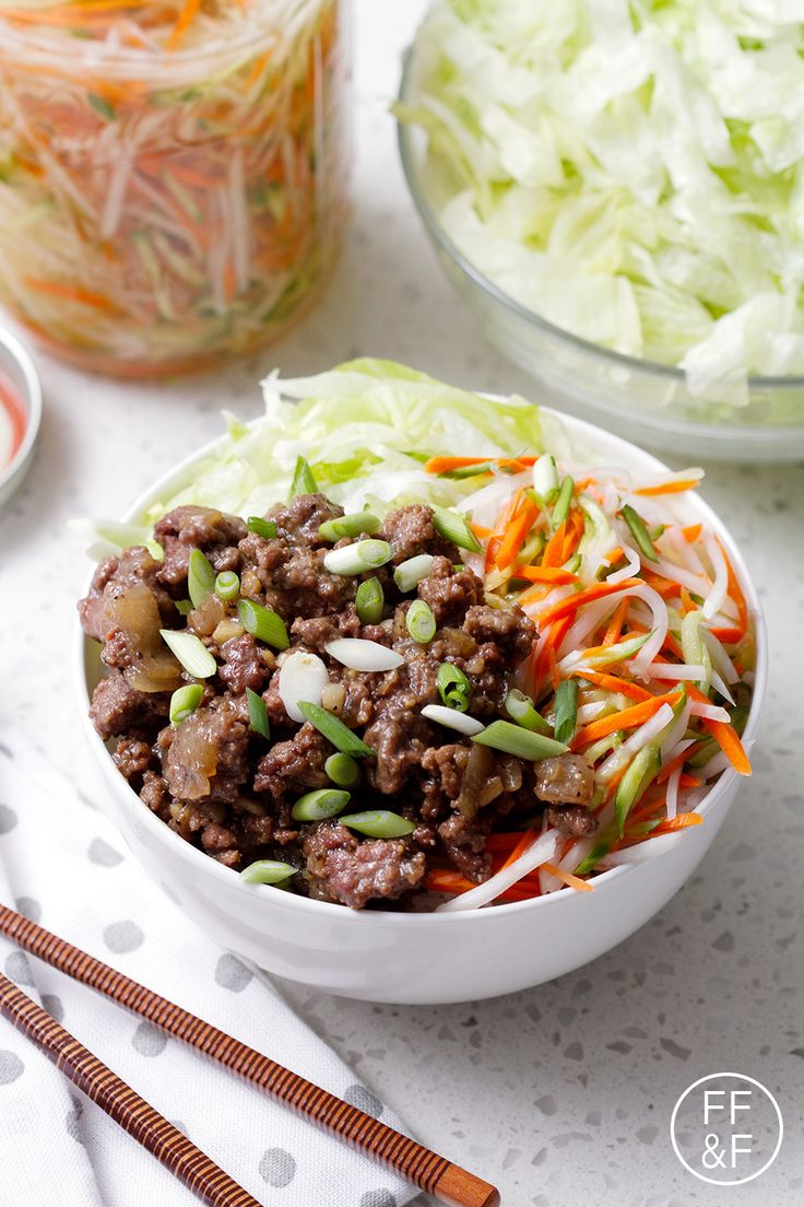 Vietnamese Beef Bowl made with rice, lettuce, pickled vegetables and ground beef with Vietnamese flavors.