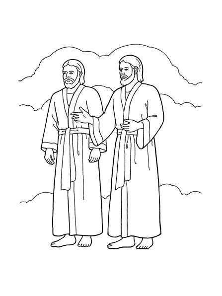 a black and white illustration of heavenly father and jesus christ wearing robes standing side by side with hands outstretched