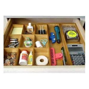 We all have (at least!) one... the Junk Drawer!  Get a handle on it with the Axis Junk Drawer Organizer, Natural Wood.