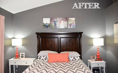 {Jessica Stout Design}: Coral + Gray Master Bedroom {My Home} with awkward slanted ceiling