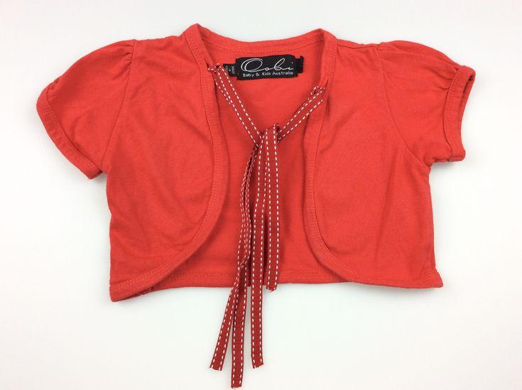 OOBI, red short-sleeved shrug / cardigan, excellent pre-loved condition (EUC), girl's size 3, $7 #kidsfashion #girlsfashion #oobi