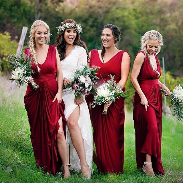 Red Wine Helene Dress - Pia Gladys Perey collection available at Nora and Elle Bridesmaids in Perth.
