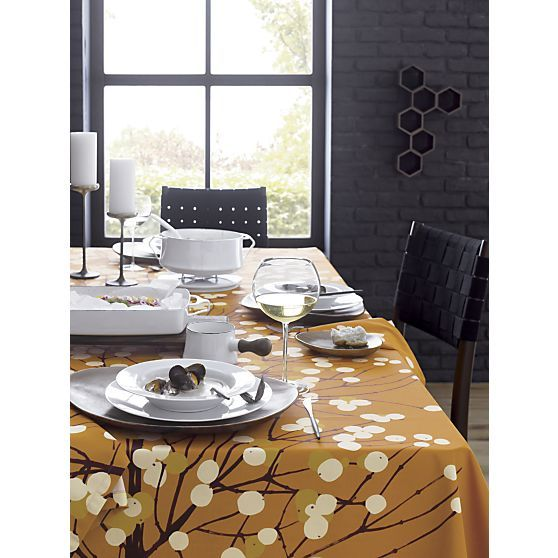 Marimekko Lumimarja Orange Tablecloth And Napkin In Outlet Dining U0026  Entertaining | Crate And Barrel