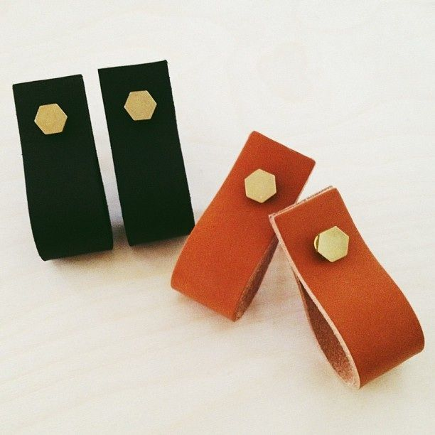 Image of LEATHER + BRASS HEXAGON PULLS