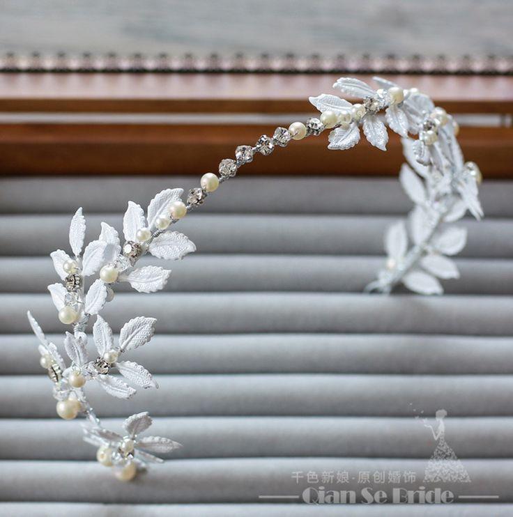 Великолепный hairband перл оголовье женщины crystal ювелирные изделия шелковый мягкая сеть белый украшения для волос невесты свадебные аксессуары shiqin купить на AliExpress