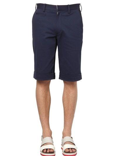 $147, Tsumori Chisato Two Tone Stretch Cotton Bermuda Shorts. Sold by LUISAVIAROMA. Click for more info: https://lookastic.com/men/shop_items/188984/redirect