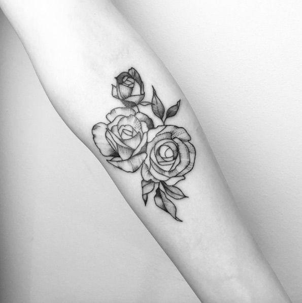 Perfect blackwork rose tattoos by Maria Fernandez