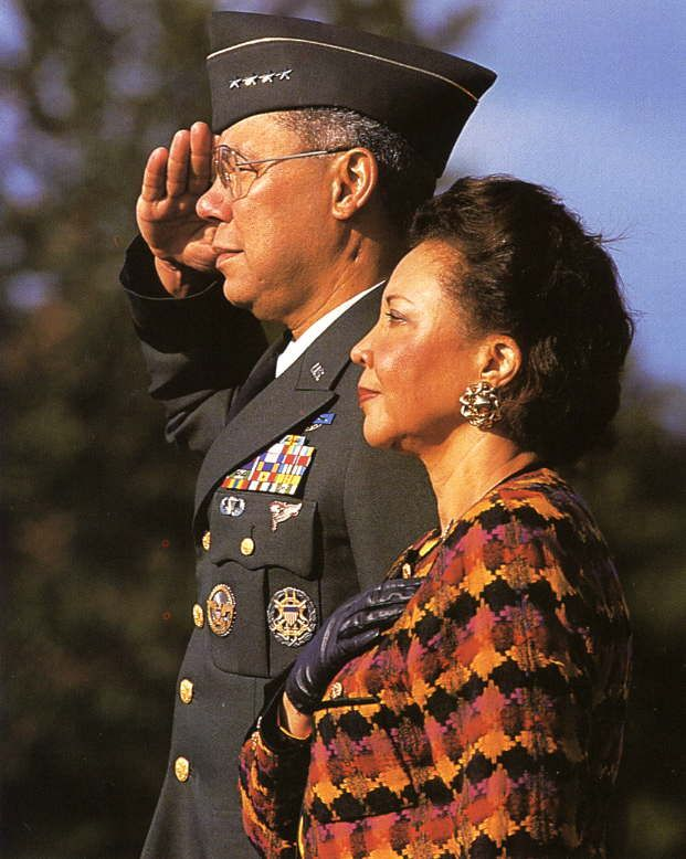 Colin Powell, first black to head the Joint Chiefs, had overseen Desert Storm, so now, in 1993, with wife Alma, he gave the last salute of a 35-year career. The Army was still segregated as he grew up in New York during World War II. His time in Vietnam (10.5% of US troops were black). Courted by the GOP to oppose Bill Clinton in 1996, he passed.