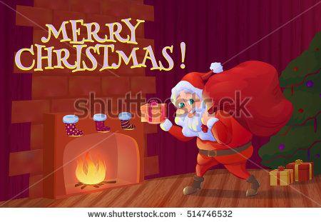 Santa claus putting christmas gift into sock hanging near firepl