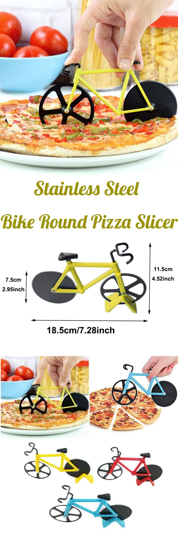 US6.99 Honana CF-BW03 Bicycle Pizza Cutter Professional Stainless Steel Non-stick Bike Round Pizza Slicer #newchic#gathering#gift#family#kitchen