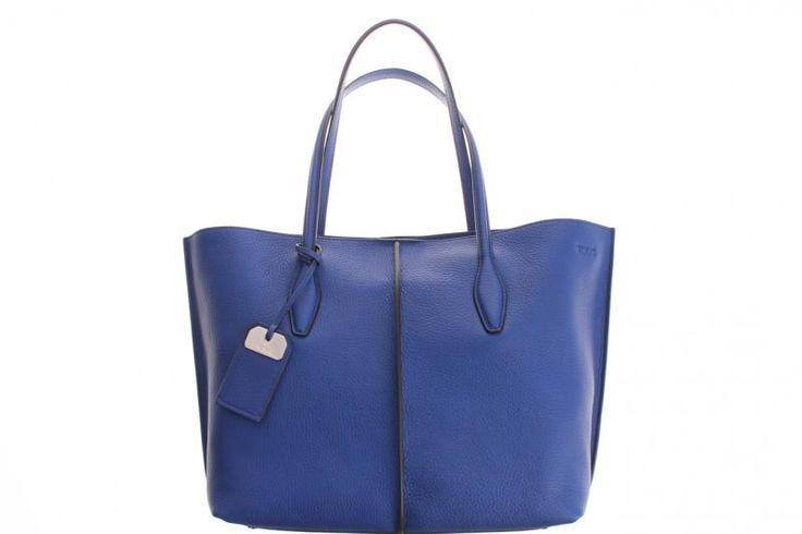 TOD'S tas shopping TOTE inkt blauw met zwarte naden