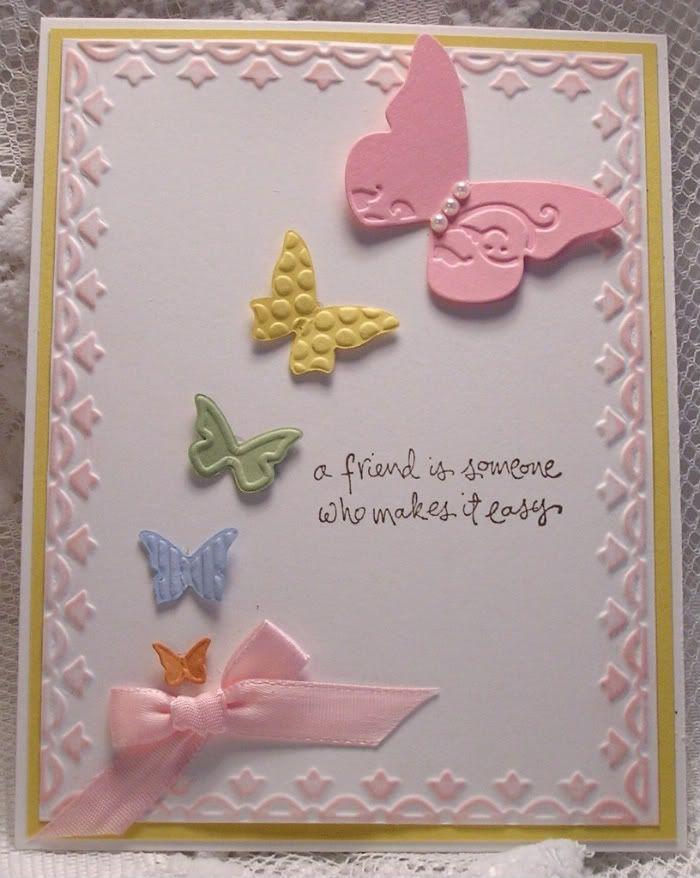 SUCards Ideas, Su Butterflies, Baby Cards, Friends Butterflies, Handmade Cards, Butterflies Embosslits, Butterflies Cards, Embossing Butterflies, Baby Shower Cards
