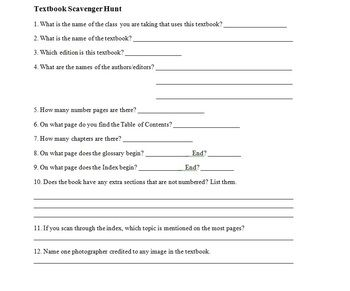 BACK TO SCHOOL ACTIVITY - TEXTBOOK SCAVENGER HUNT - TeachersPayTeachers.com