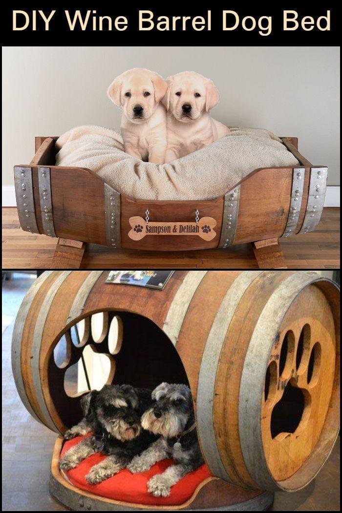 Turn A Wine Barrel Into A Dog Bed Wine Barrel Dog Bed Outdoor Dog Bed Diy Dog Bed