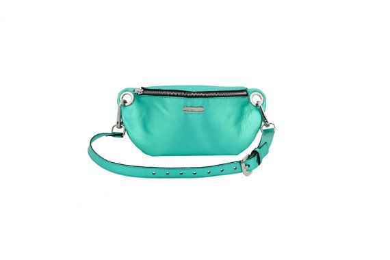 Leather waist bag hip bag metalic turquise leather #FannyPack #Accessories #MustHave