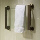 """37"""" heated glass towel warmer in Oil-Rubbed Bronze, perfect for the rustic or antique themed bath."""