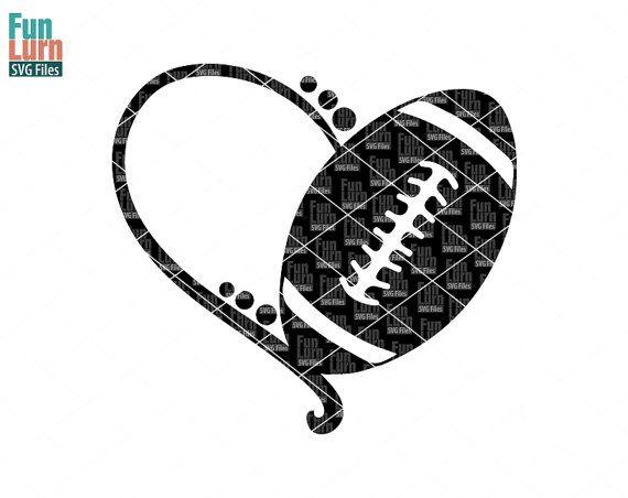Football heart SVGFootball SVG heart monogram frame by FunLurnSVG