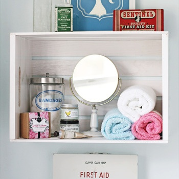 Decorating - Portfolio - Cottage Industry  crate shelf, vintage bathroom, first aid tins