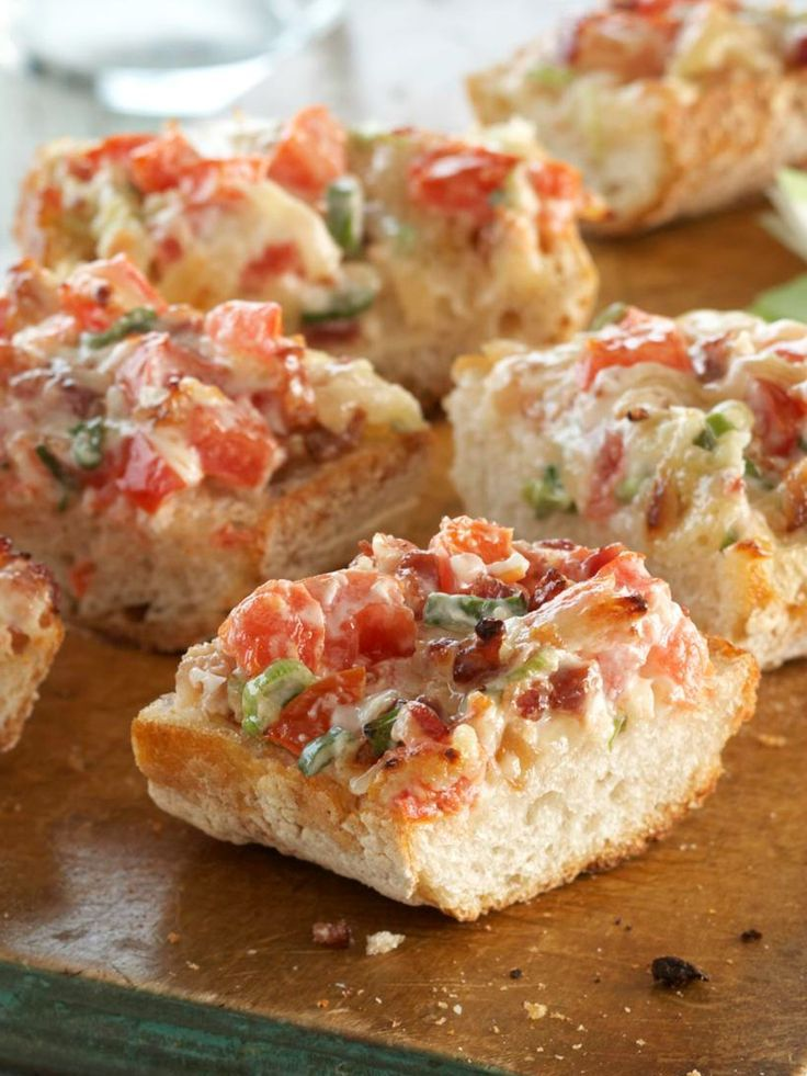 Bacon Bruschetta Baguette — Cheesy garlic bread with tangy MIRACLE WHIP Dressing and a hint of bacon makes this grill-simple bruschetta baguette appetizer recipe a winner.