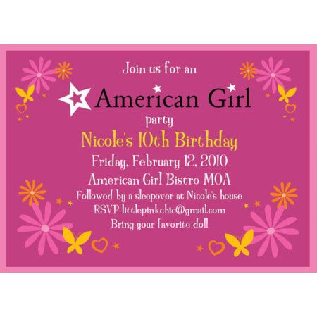 86 best american girl doll birthday party images on pinterest, Birthday invitations