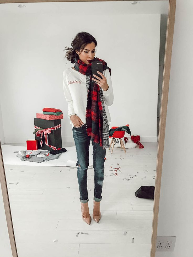 Hello Fashion. White long sleeved tee+ripped skinny denim+nude pumps+double plaid scarf. Fall Outfit 2016