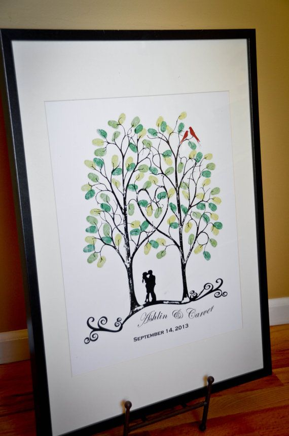 ThumbPrint Signature Wedding Tree Guest Book Alternative / Gift / Trees with Couple Silhouette and Love Birds on Etsy, $49.00