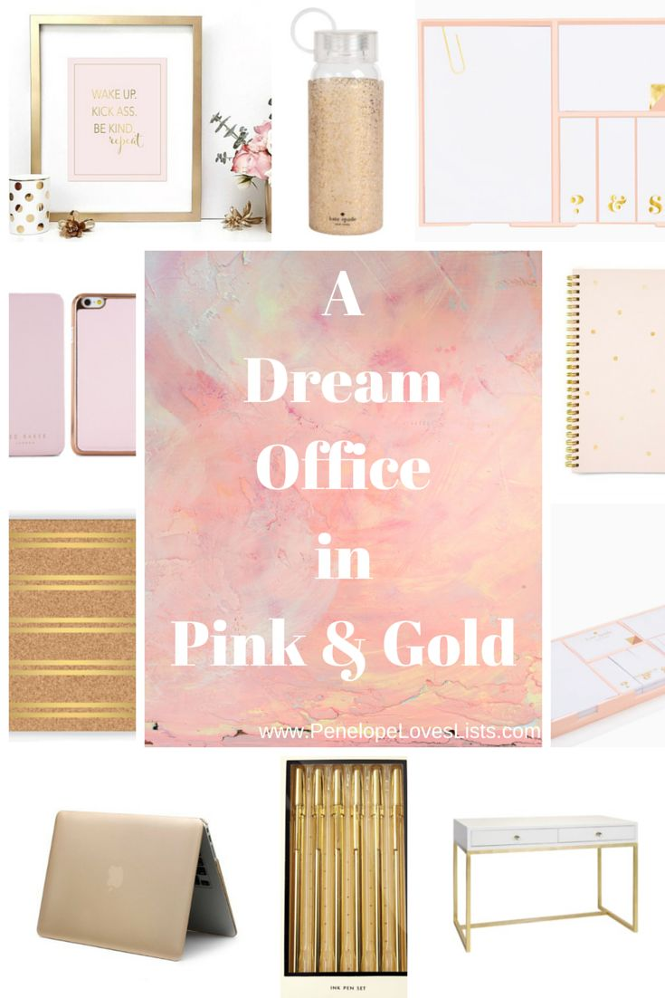 Pretty office supplies in pink and gold. Your guide to making your office organized and luxurious, from Penelope Loves Lists, the best organizing blog for the notebook junkie in you.