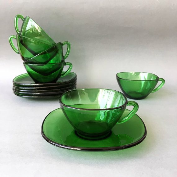Vintage Vereco Emerald Green Cups & Saucers Set by RosieFleur