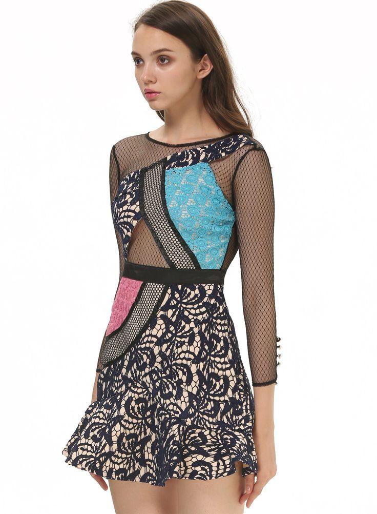 Black Red Blue Contrast Sheer Mesh Yoke Lace Dress US$53.67