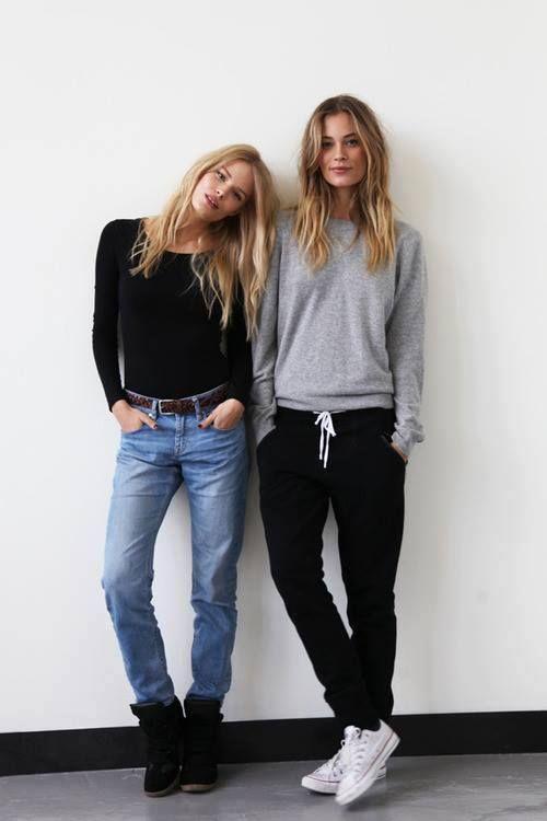 black sweatpants, grey sweatshirt, chucks