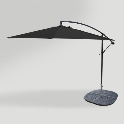 Black 10ft Cantilever Umbrella And Weight Base