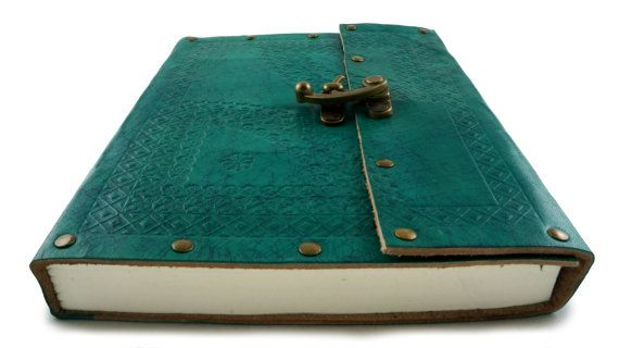 Leather Journal or Notebook Turquoise with by TerraNegraStudio