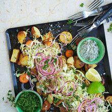 Matig sallad med rostade grönsaker