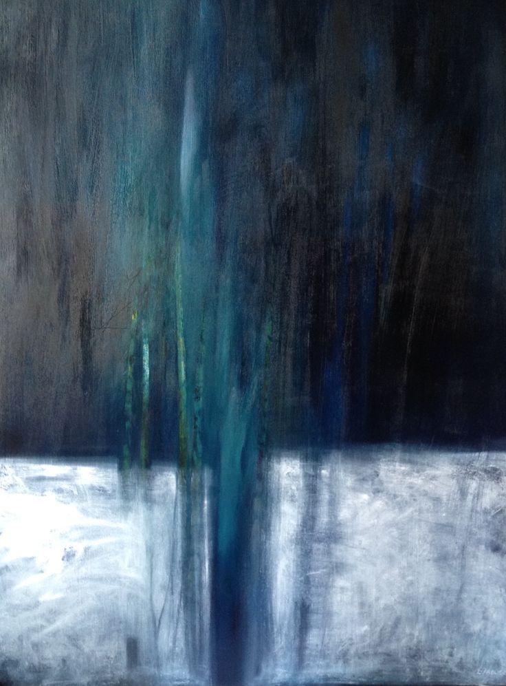 """Patrizia Biaducci, """"La luna offesa"""", paesaggio a olio su tavola 2008"""