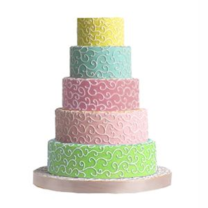Beautiful 5 tiere pastle colours - wedding cake