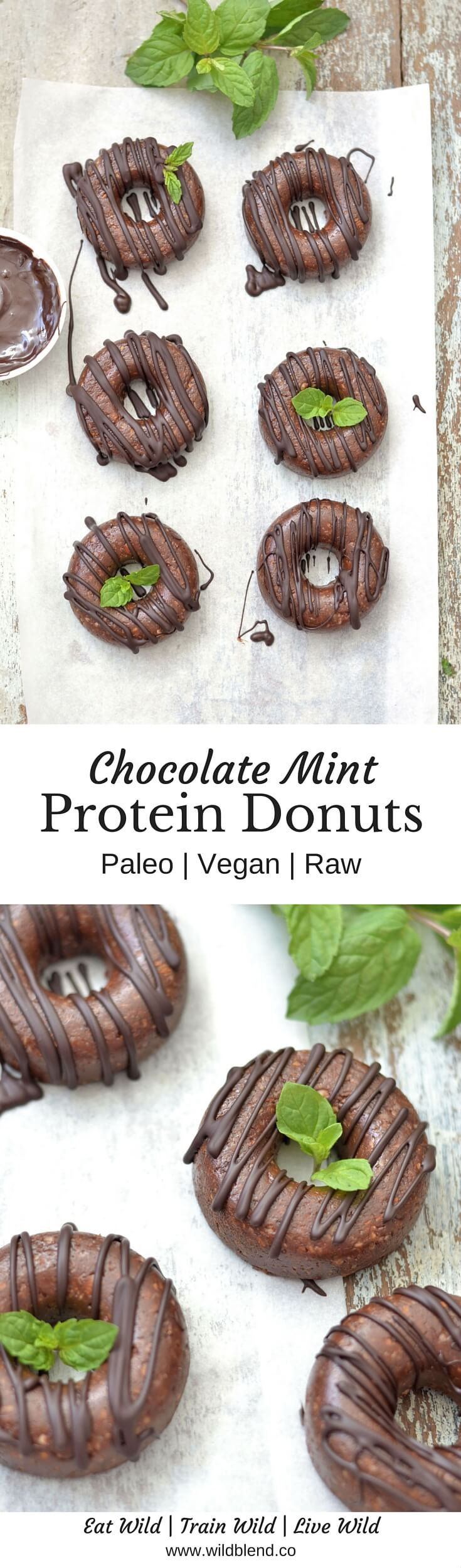 These raw Vegan and Paleo friendly Chocolate Mint Protein Donuts are free from gluten, wheat, dairy and refined sugar -- YES they're basically guilt free! Get the recipe here: http://www.wildblend.co/single-post/2016/06/04/Raw-Choc-Mint-Protein-Donuts