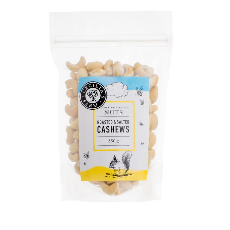 Our Cashews are sourced from Mozambique and India where they grow, and then brought back to Koelfontein to be roasted in our traditional Middle Eastern salt roasting process. This way the nuts keep their own natural oils and maintain their lovely texture and flavour, enhanced by a sprinkling of course salt. http://ceciliasfarm.co.za/product/roasted-salted-cashews/