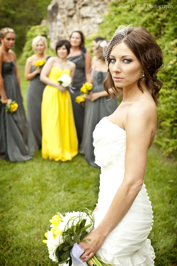 Maid of honor in an accent color. Love this idea!