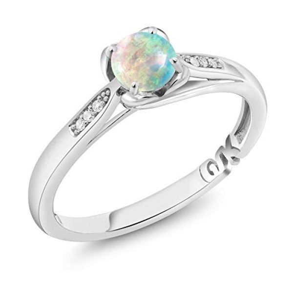 Gem Stone King 10k White Gold 0 54 Ct Cabochon And Simulated Opal And Diamond Engagement Ring Available 5 6 7 8 9 Buyerstops Engagement Rings Diamond Engagement Diamond Engagement Rings